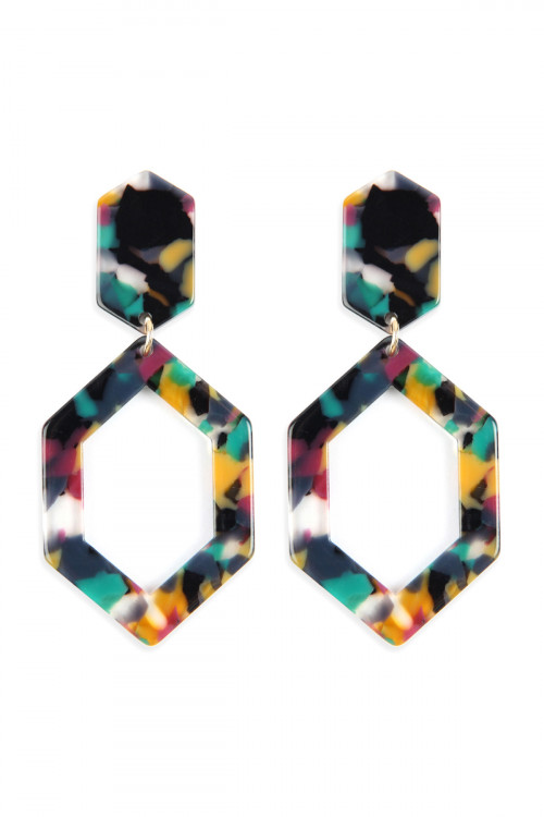 A2-2-2-AHDE2573DMT DARK MULTI COLOR LINKED POLYGON TORTOISE ACETATE DROP EARRINGS/6PAIRS