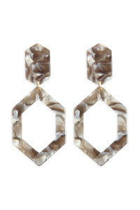 A2-2-2-AHDE2573GY GRAY LINKED POLYGON TORTOISE ACETATE DROP EARRINGS/6PAIRS