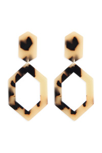 A2-2-2-AHDE2573LBR LIGHT BROWN LINKED POLYGON TORTOISE ACETATE DROP EARRINGS/6PAIRS