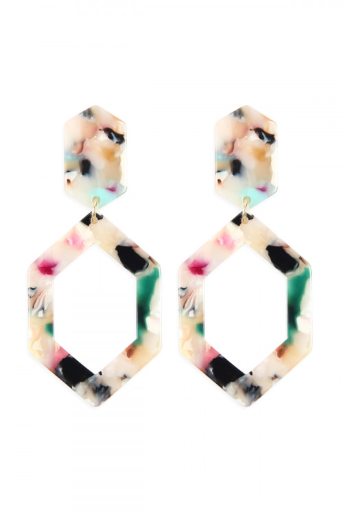 A2-1-4-AHDE2573LMT LIGHT MULTI COLOR LINKED POLYGON TORTOISE ACETATE DROP EARRINGS/6PAIRS