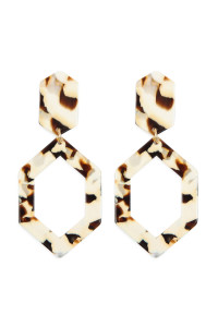 A2-2-2-AHDE2573WT WHITE LINKED POLYGON TORTOISE ACETATE DROP EARRINGS/6PAIRS