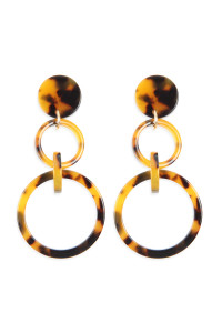 A2-2-2-AHDE2574BR BROWN LINKED HOOP ACETATE DANGLE EARRINGS/6PAIRS