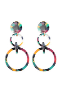 A2-1-4-AHDE2574DMT DARK MULTI COLOR LINKED HOOP ACETATE DANGLE EARRINGS/6PAIRS
