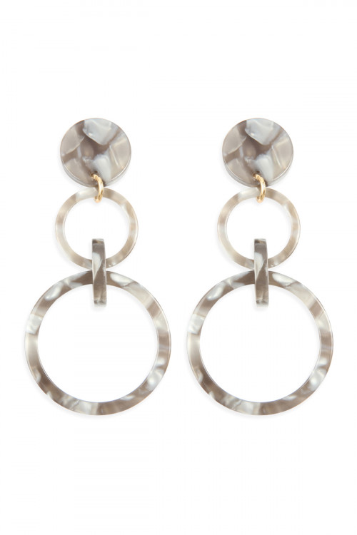 A2-2-4-AHDE2574GY GRAY LINKED HOOP ACETATE DANGLE EARRINGS/6PAIRS