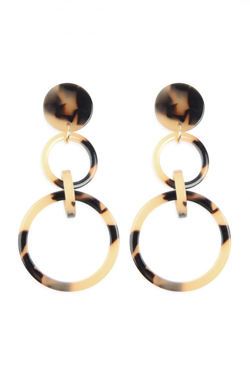 A2-2-4-AHDE2574LBR LIGHT BROWN LINKED HOOP ACETATE DANGLE EARRINGS/6PAIRS