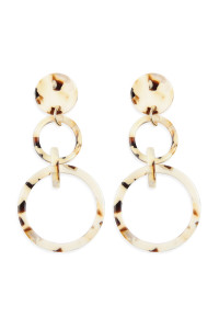 A2-2-4-AHDE2574WT WHITE LINKED HOOP ACETATE DANGLE EARRINGS/6PAIRS
