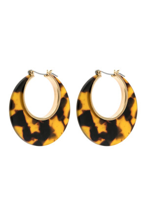A3-1-2-AHDE2575BR BROWN CRESCENT MOON SHAPE TORTTOISE ACETATE HOOP EARRING/6PAIRS