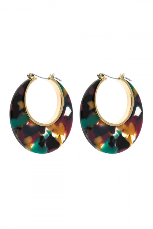 A3-1-4-AHDE2575DMT DAK MULTI COLOR CRESCENT MOON SHAPE TORTTOISE ACETATE HOOP EARRING/6PAIRS