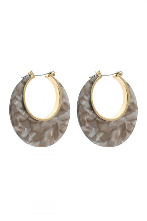 A3-1-4-AHDE2575GY GRAY CRESCENT MOON SHAPE TORTTOISE ACETATE HOOP EARRING/6PAIRS