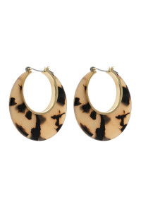 A3-1-4-AHDE2575LBR LIGHT BROWN CRESCENT MOON SHAPE TORTTOISE ACETATE HOOP EARRING/6PAIRS