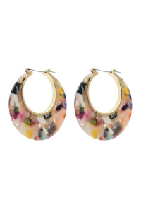 A3-1-2-AHDE2575LMT LIGHT MULTI COLOR CRESCENT MOON SHAPE TORTTOISE ACETATE HOOP EARRING/6PAIRS