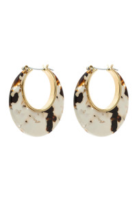 A3-1-4-AHDE2575WT WHITE CRESCENT MOON SHAPE TORTTOISE ACETATE HOOP EARRING/6PAIRS