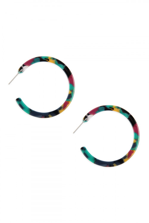A2-2-4-AHDE2576DMT DARK MULTI COLOR POST HOOP ACETATE TORTOISE EARRINGS/6PAIRS