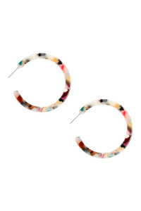 A2-2-2-AHDE2576LMT LIGHT MULTI COLOR POST HOOP ACETATE TORTOISE EARRINGS/6PAIRS