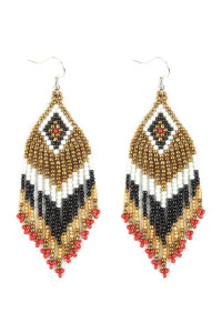A2-2-2-AHDE2580BK BLACK SEED BEADS DANGLE EARRINGS/6PAIRS