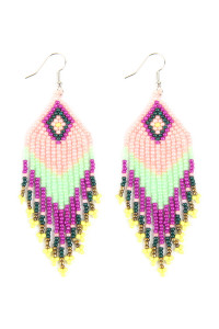 A2-2-4-AHDE2580PK PINK SEED BEADS DANGLE EARRINGS/6PAIRS