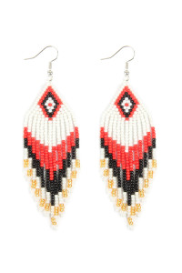 A2-1-4-AHDE2580WT WHITE SEED BEADS DANGLE EARRINGS/6PAIRS