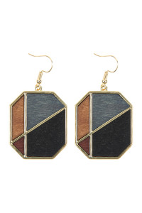 A2-2-2-AHDE2584BK BLACK COLORED POLYGON DROP EARRINGS/6PAIRS