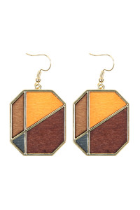 A2-2-4-AHDE2584BR BROWN COLORED POLYGON DROP EARRINGS/6PAIRS
