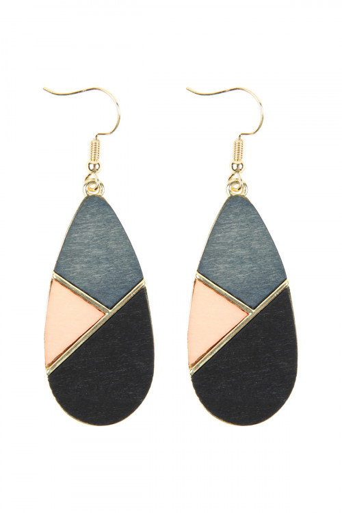 A2-2-2-AHDE2585BK BLACK COLORED POLYGON TEARDROP EARRINGS/6PAIRS