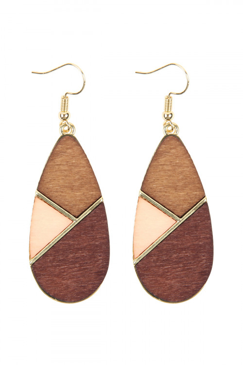 A2-2-2-HDE2585BR BROWN COLORED POLYGON TEARDROP EARRINGS/6PAIRS