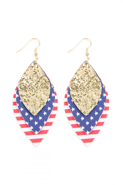 A2-1-2-AHDE2588G GOLD USA FLAG WITH SEQUIN MARQUISE LAYERED LEATHER DROP EARRINGS/6PAIRS ***WARNING: California Proposition 65***