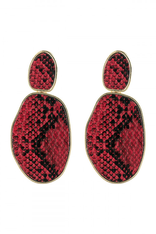 A3-2-3-AHDE2589RD RED SNAKE SKIN PRINTED FACETED POST EARRING/6PAIRS
