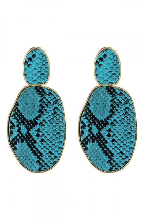 A3-2-4-AHDE2589TQ TURQUOISE SNAKE SKIN PRINTED FACETED POST EARRING/6PAIRS