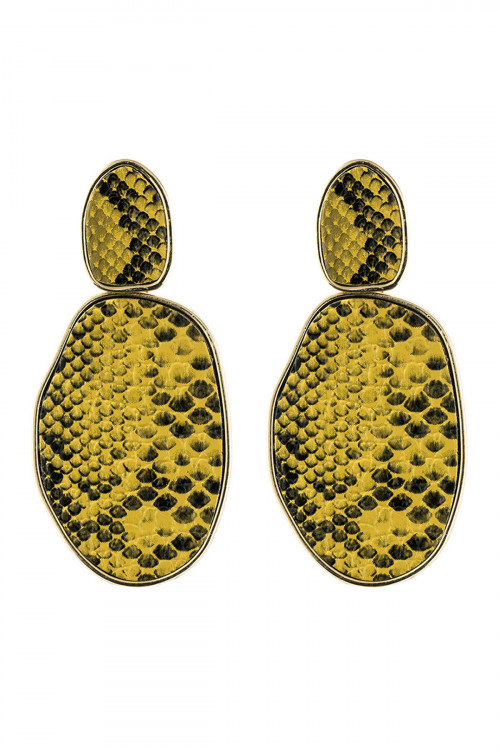 A3-2-3-AHDE2589YW YELLOW SNAKE SKIN PRINTED FACETED POST EARRING/6PAIRS