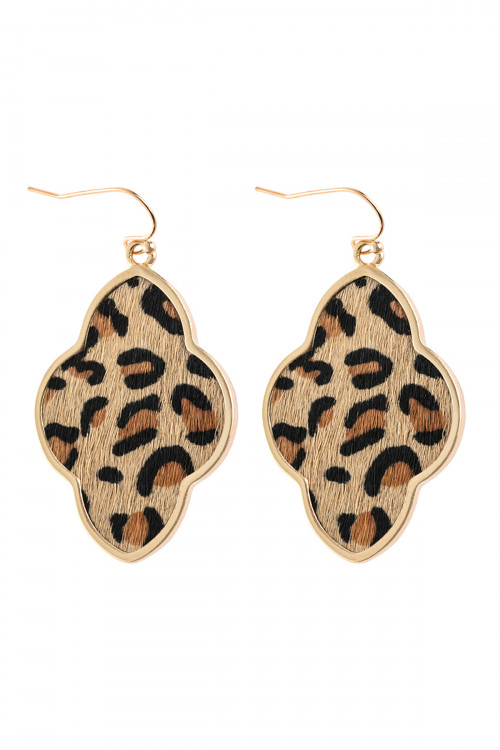 A3-2-3-AHDE2590LBR LIGHT BROWN QUATREFOIL FACETED LEOPARD DROP EARRING/6PAIRS