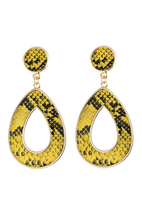 A3-1-4-AHDE2592YW YELLOW LINKED PEAR SHAPE SNAKE SKIN PRINTED DANGLE POST EARRINGS/6PAIRS