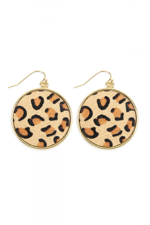 A2-2-2-AHDE2594LBR LIGHT BROWN LEOPARD PRINTED LEATHER CIRCLE DROP EARRINGS/6PAIRS