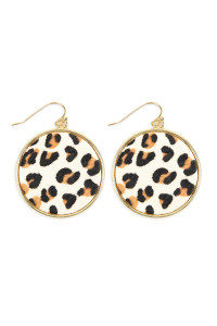 A2-1-4-AHDE2594WT WHITE LEOPARD PRINTED LEATHER CIRCLE DROP EARRINGS/6PAIRS