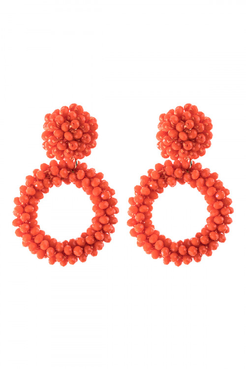 A3-2-3-AHDE2595COR CORAL RONDELLE HOOPS POST EARRING/6PAIRS