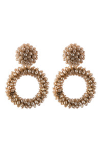 A3-2-3-AHDE2595LBR LIGHT BROWN RONDELLE HOOPS POST EARRING/6PAIRS