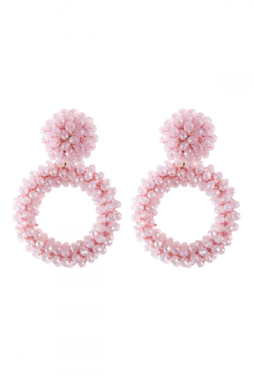 A3-2-3-AHDE2595LPK LIGHT PINK RONDELLE HOOPS POST EARRING/6PAIRS