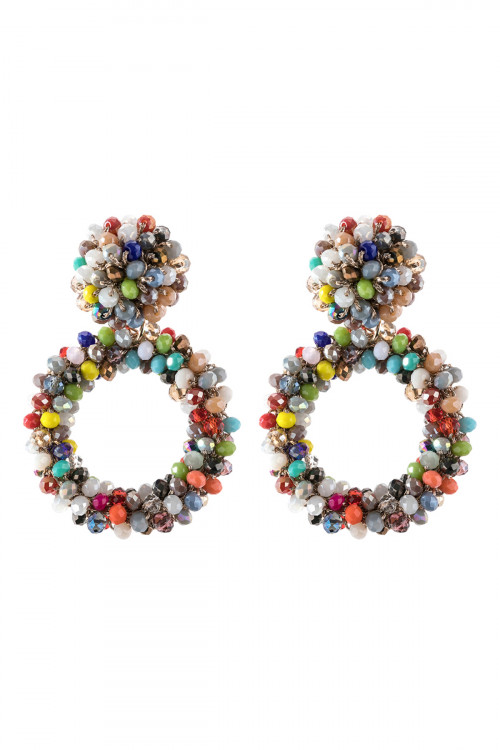 A3-2-3-AHDE2595MT MULTI COLOR RONDELLE HOOPS POST EARRING/6PAIRS