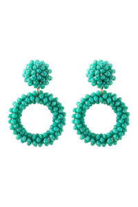 A3-2-3-AHDE2595TQ TURQUOISE RONDELLE HOOPS POST EARRING/6PAIRS