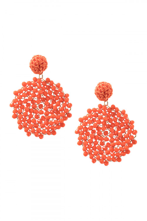 A3-3-4-AHDE2596COR CORAL SWIRL PATTERN RONDELLE DROP EARRING/6PAIRS