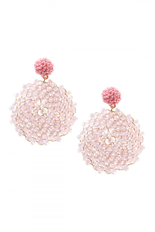 A3-2-2-AHDE2596LPK LIGHT PINK SWIRL PATTERN RONDELLE DROP EARRING/6PAIRS