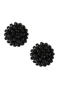 A3-3-4-AHDE2597BK BLACK RONDELLE POST EARRING/6PAIRS