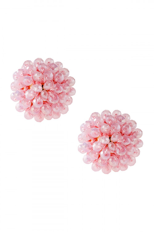A3-3-4-AHDE2597LPK LIGHT PINK RONDELLE POST EARRING/6PAIRS