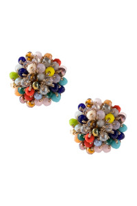A3-3-4-AHDE2597MT MULTI COLOR RONDELLE POST EARRING/6PAIRS