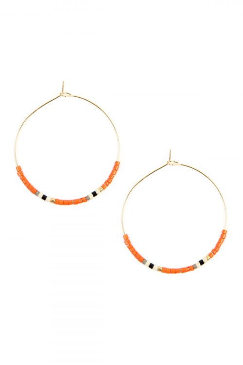 A2-1-2-AHDE2605COR CORAL SEED BEADED HOOP EARRINGS/6PAIRS