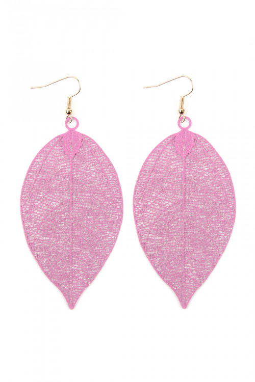 A1-2-2-AHDE2610FU FUCHSIA FILIGREE LEAF EARRINGS/6PAIRS
