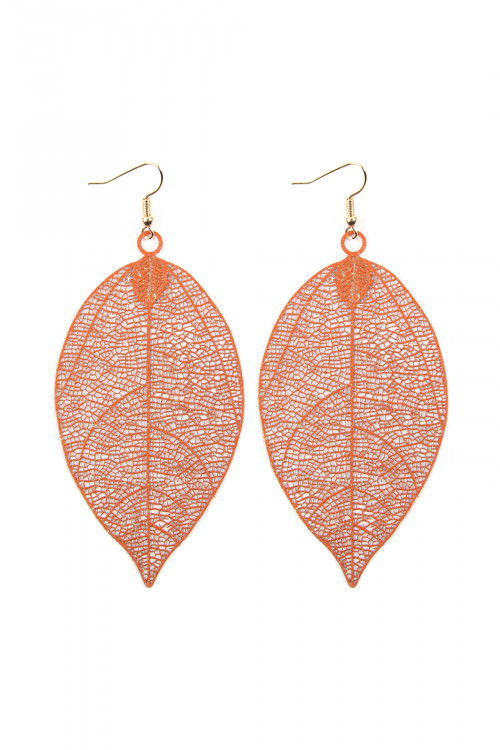 A2-3-3-AHDE2610OR ORANGE FILIGREE LEAF EARRINGS/6PAIRS