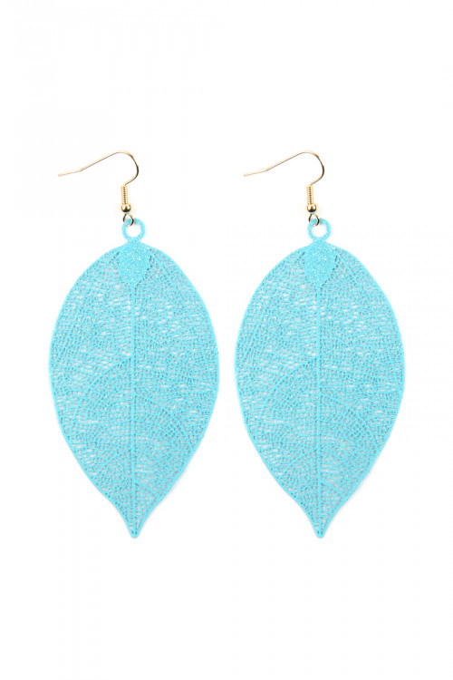 A1-2-2-AHDE2610TQ TURQUOISE FILIGREE LEAF EARRINGS/6PAIRS