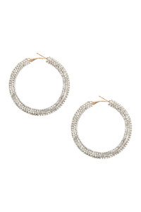 A3-1-2-AHDE2611CRY CRYSTAL RHINESTONE COATED HOOP EARRING/6PAIRS