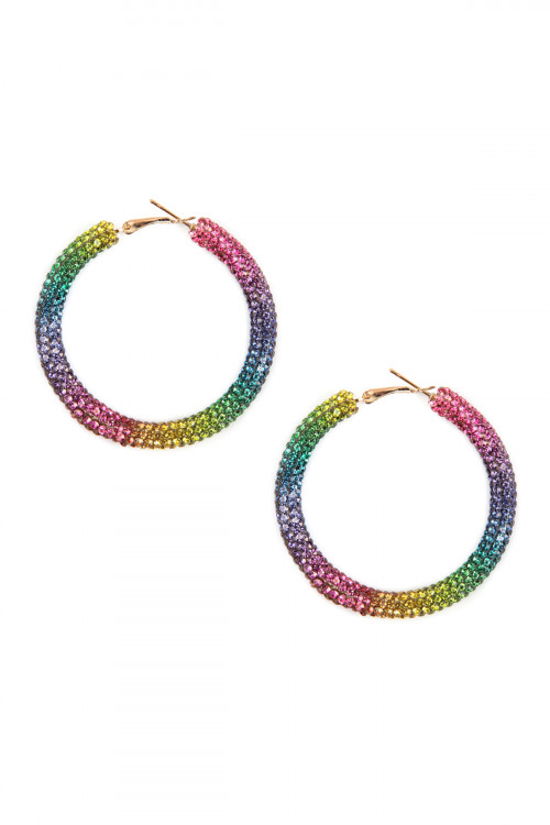 A3-1-2-AHDE2611MT MULTI COLOR  RHINESTONE COATED HOOP EARRING/6PAIRS
