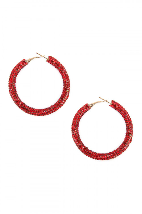 A3-1-2-AHDE2611RD RED RHINESTONE COATED HOOP EARRING/6PAIRS